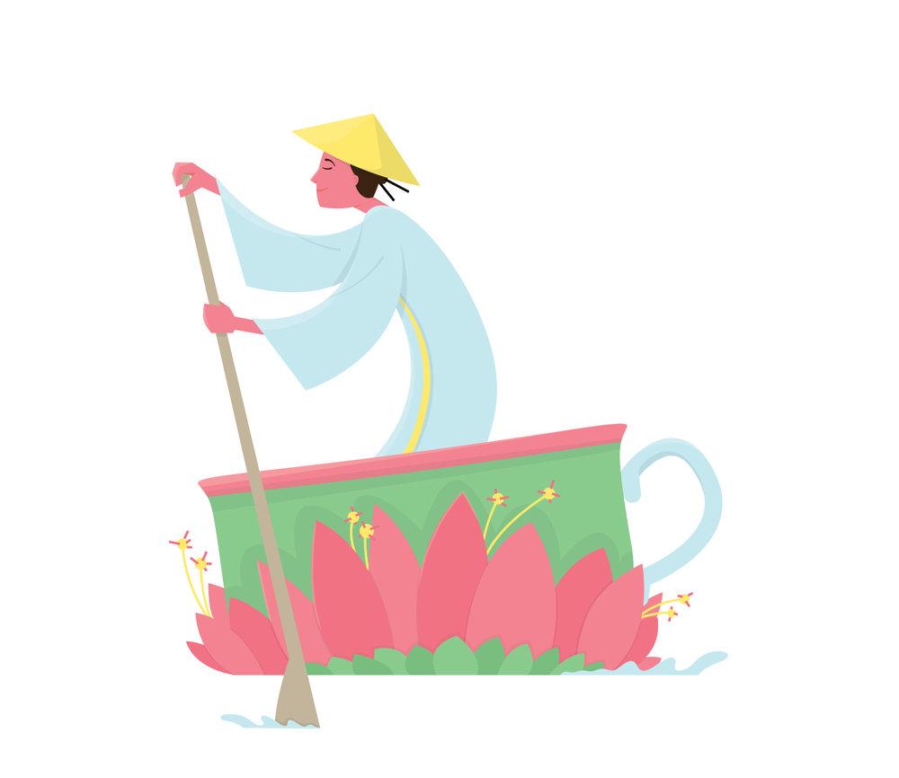Illustration einer Chinesin in einer Seerose als Teetasse von Elisabeth Deim