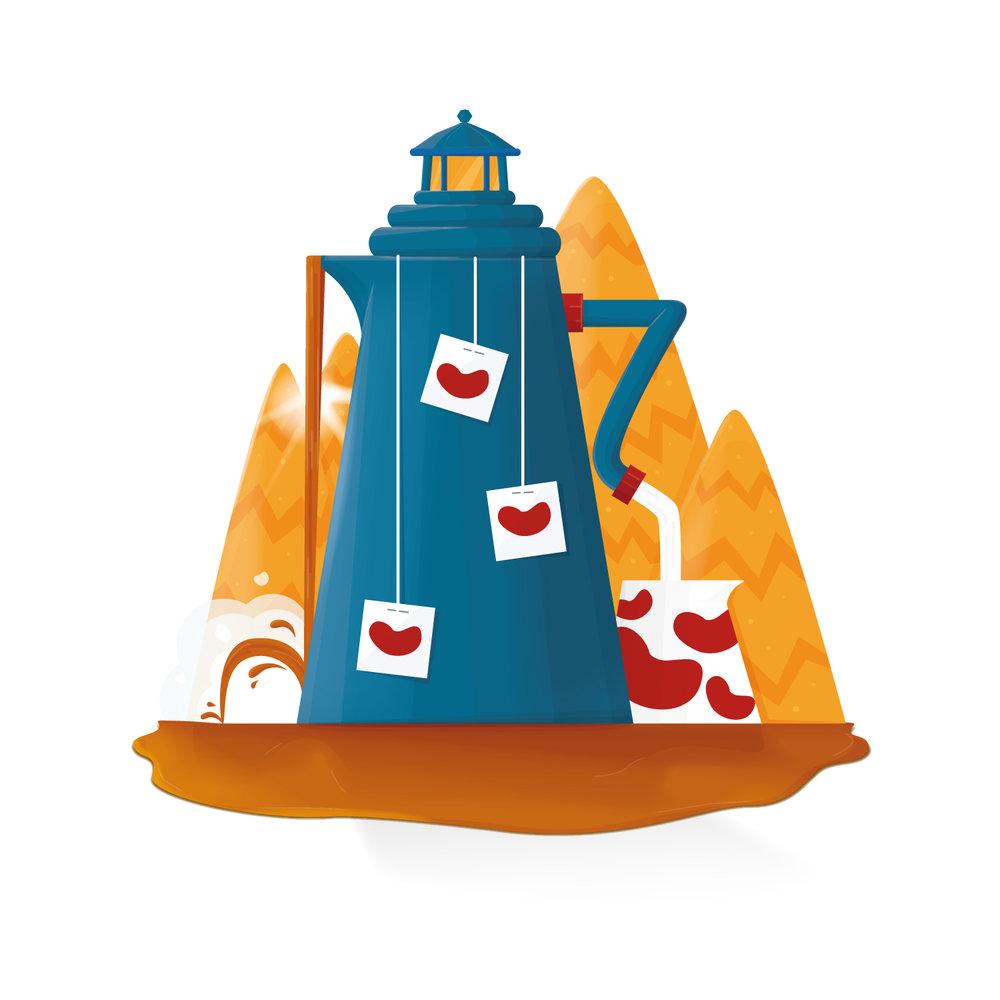 Illustration eines Leuchturms als Teekanne von Elisabeth Deim