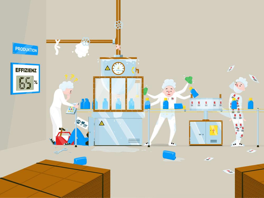 Vorher-Nachher-Darstellung als Illustration von Produktionsprozessen in einem Chemieunternehmen von Elisabeth Deim