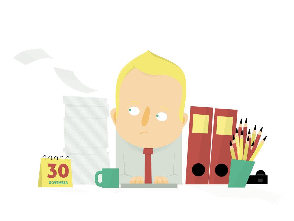 """Editorial Illustration """"Unordnung im Büro"""" von Elisabeth Deim"""