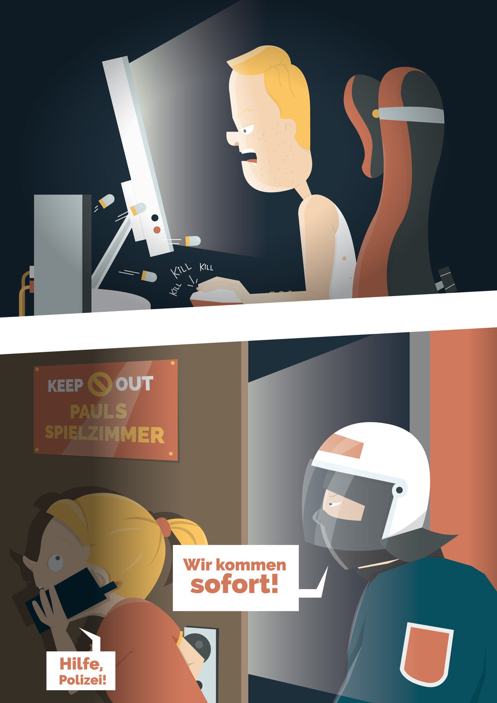 Sachbuch Illustration Killerspiele und Polizei - Elisabeth Deim