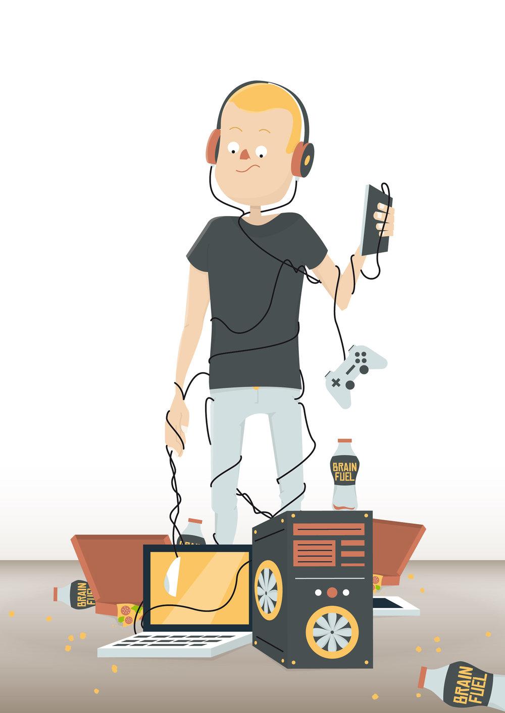 Sachbuch Illustration Videospielsucht - Elisabeth Deim