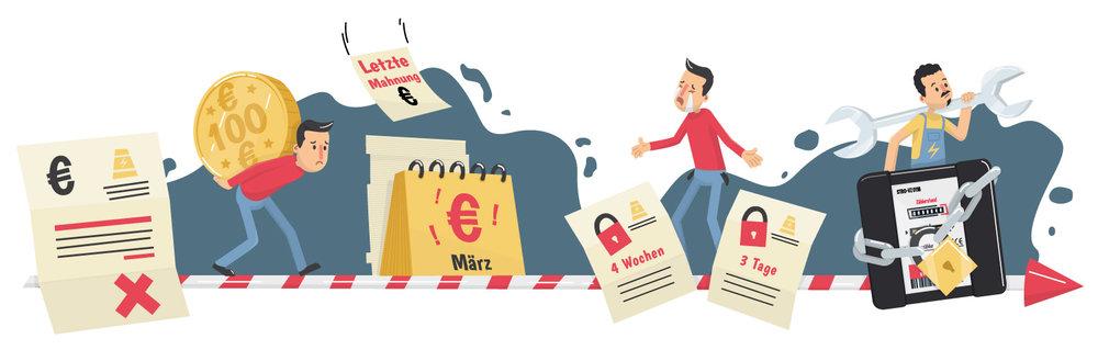 Informative Illustration: Wie kommt es zur Stromsperre - Elisabeth Deim