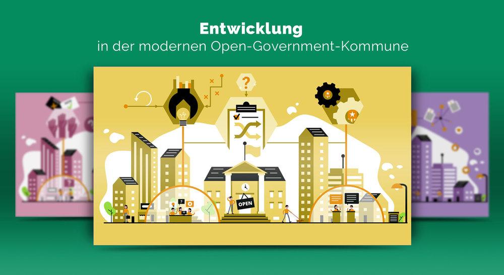 Illustrationen zur Entwicklung im Open Government / Elisabeth Deim