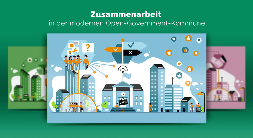 Illustrationen zur Zusammenarbeit im Open Government / Elisabeth Deim