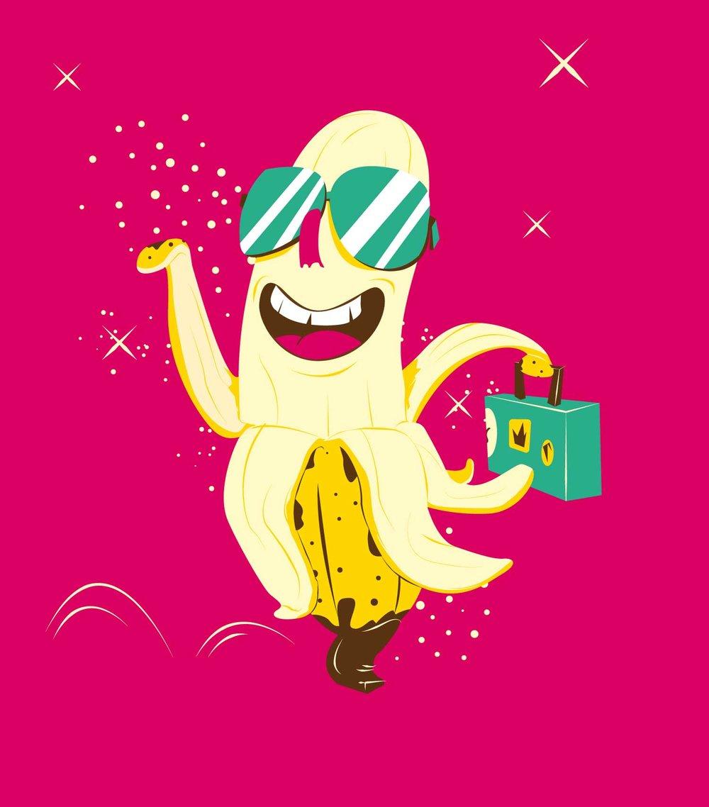 """Character Design der Banane """"Urlaubsreif"""" von Elisabeth Deim"""