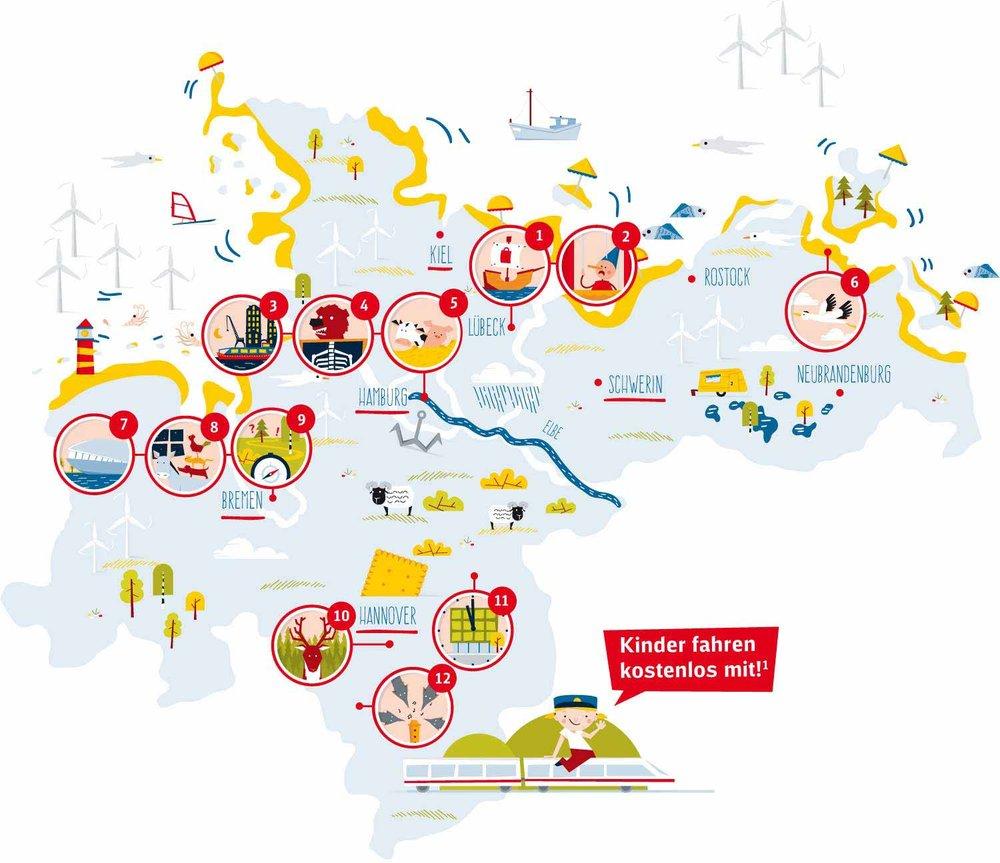 """Infografik Landkarte """"Deutschland kostenlos!"""" von Elisabeth Deim"""
