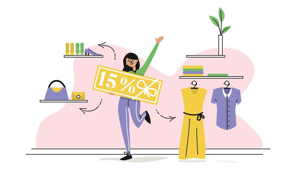 Editorial Illustration - Textilsammelprogramm - Gutschein erhalten - Elisabeth Deim
