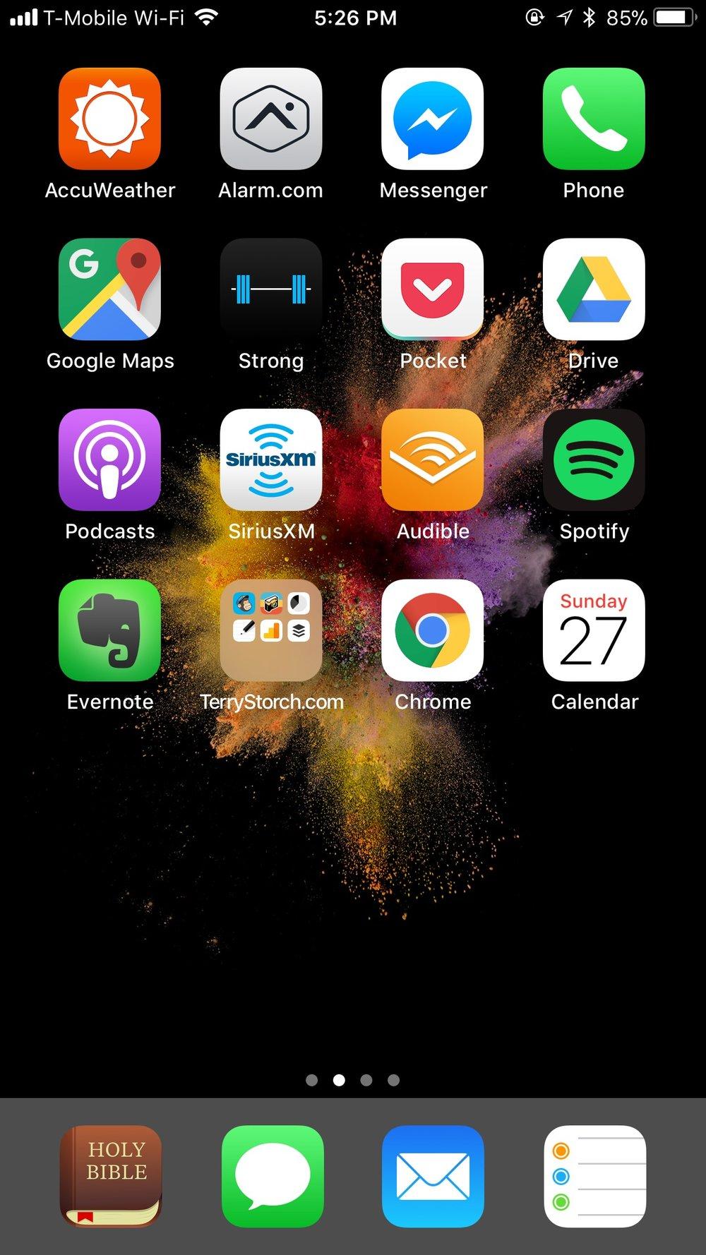 - Bible AppMailiMessageRemindersCalendarEvernoteChomePocketAudibleSpotifyGoogle PhotosStrongInstagramCircleSiriusXM