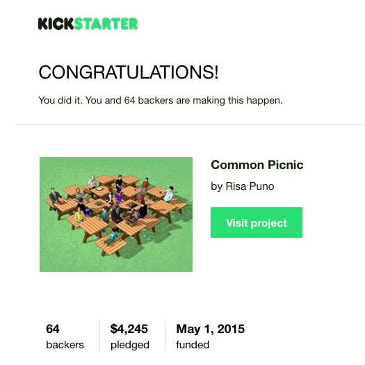 Common Picnic = Kickstarter SUCCESS!!