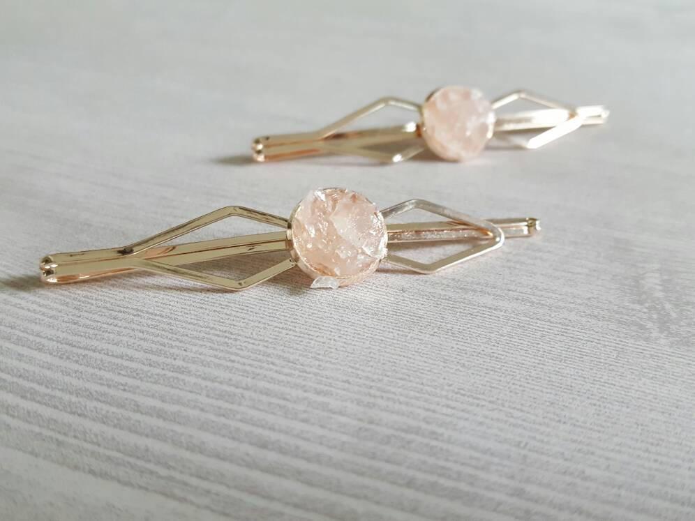 Rose Gold Hair Pin Millennial Pink Bridal Hair Accessories Art Deco Wedding Pink Hair Clip Bobby Pins Bridal Hair Pins Rose Quartz Dynamo