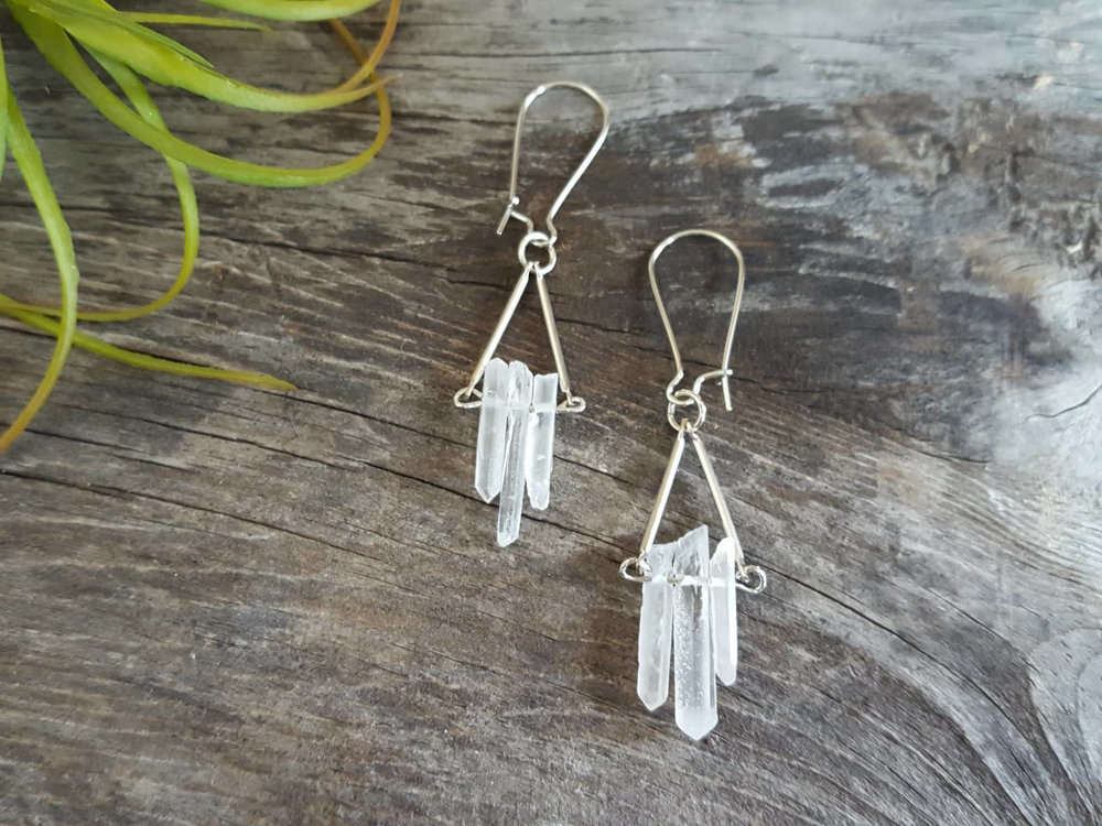 silver jewelry earrings quartz monet polygon anna