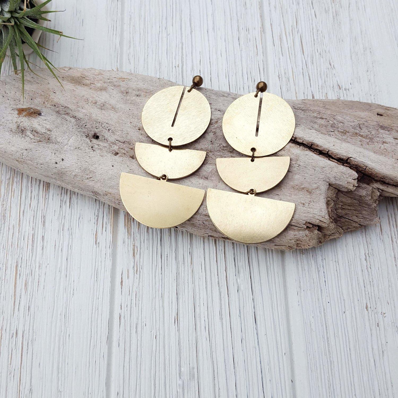 d7d85eb73 Geometric Drop Earrings Geometric Statement Earrings Modern Brass Earring  Big Statement Earrings Minimalist Earrings Modern Jewelry Dynamo