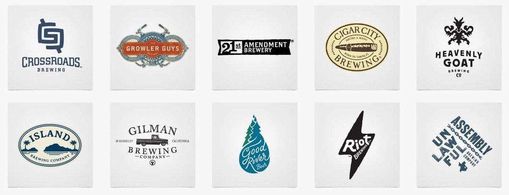 Craft Brewery Logos. Design work  ©Danno The Manno, Inc.,  ©TBD Agency