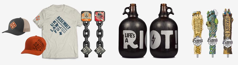 Brewery Tap Handle, Apparel and Growler Design.  ©Danno The Manno, Inc.