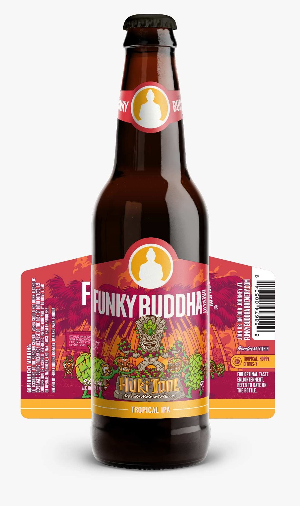 Funky Buddha Brewery Huki Idol Tropical IPA bottle label and bottle carrier design and artwork.