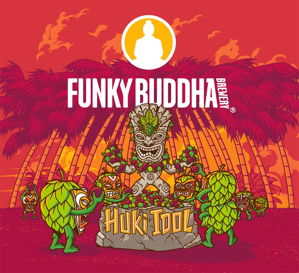 Funky Buddha Brewery Huki Idol Tropical IPA artwork illustration.