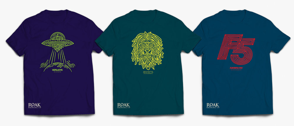 Custom Apparel Designs for craft brewery, Roak Brewing Co.