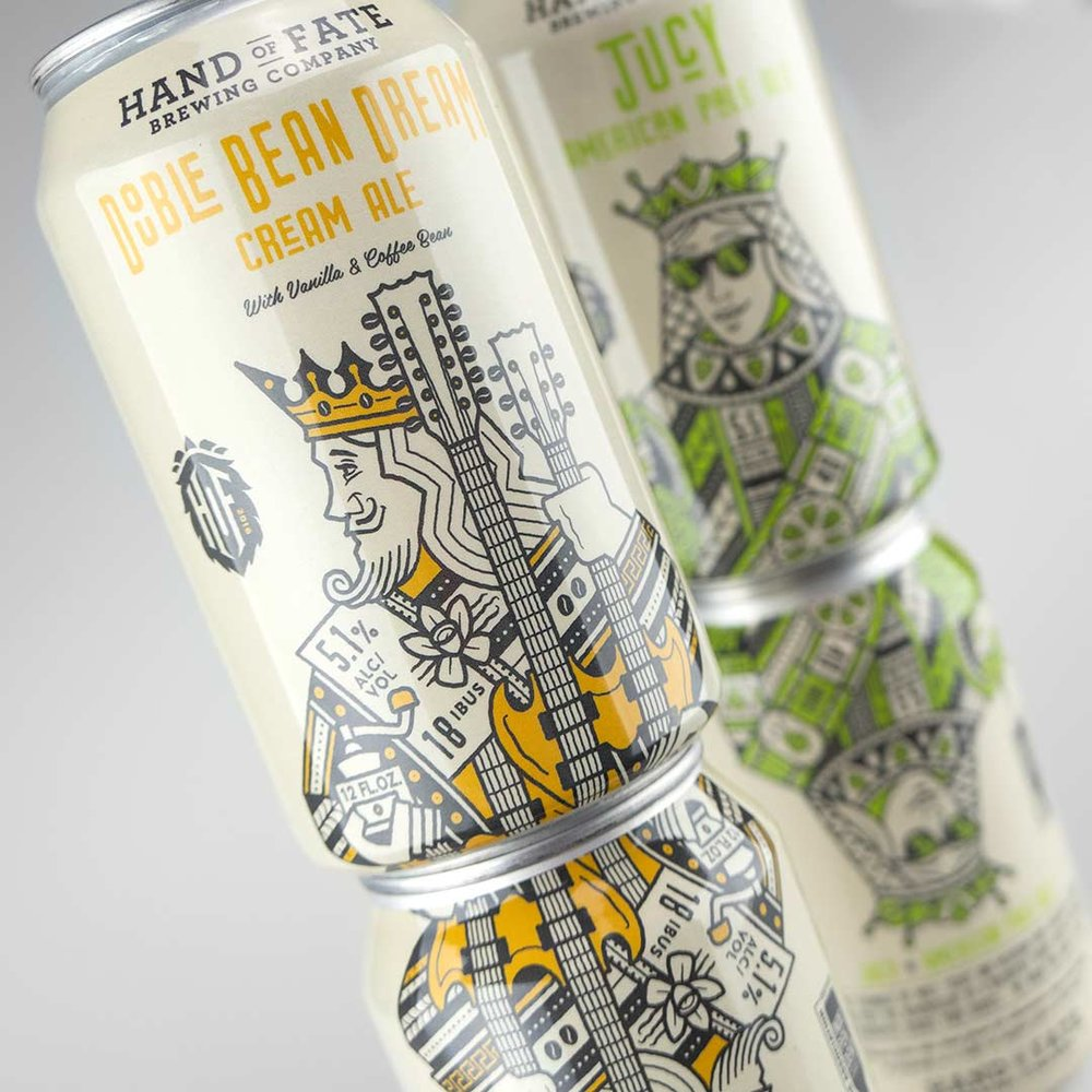 Stacking cans design for Hand of Fate Brewing Co. Double Bean Dream Cream Ale.