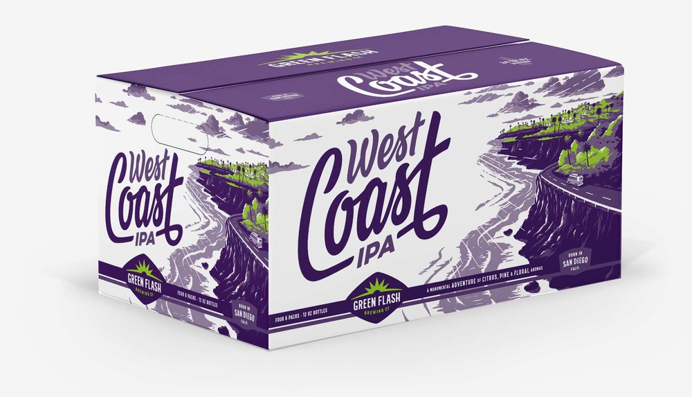 Mother carton case box design for Green Flash West Coast IPA