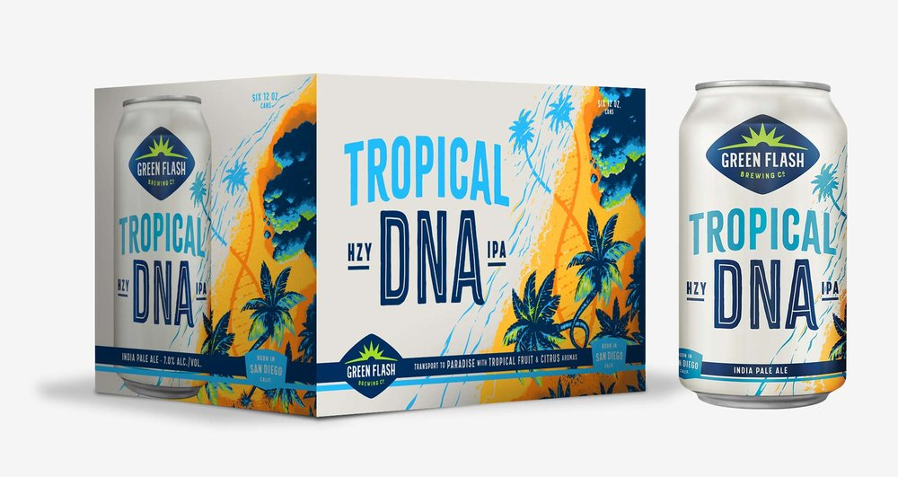 Tropical DNA Hazy IPA 6-pack, bottle label, can design, can box.