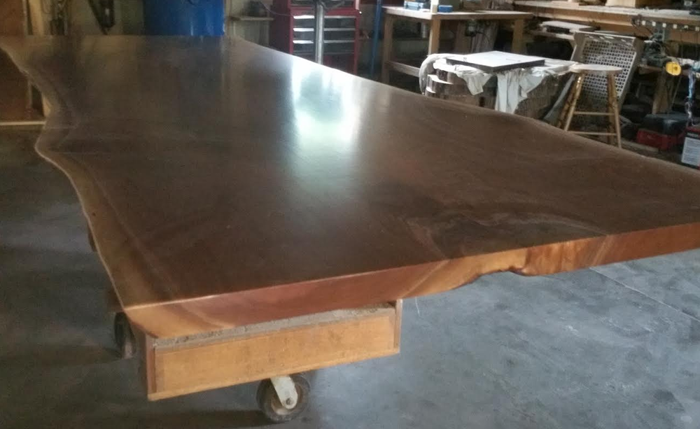 12 footer live edge bookmatch slab conference table