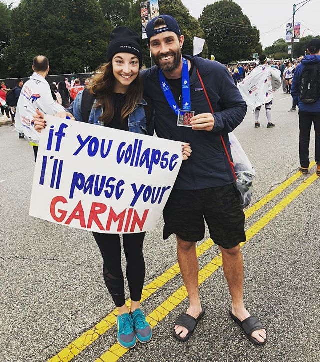 Long year, more downs than ups, but today was a big up. Accidentally ended up running the race entirely w @meggaseor16, and it was easier and more enjoyable than any of my past runs. (Relatively speaking) Major Shout out to the amazing people who screamed and cheers and gave us all a ton of energy on a soggy course! Especially my #1 @masters_say. It's not the runners that make Chicago amazing, but the support of the city.  #chicagomarathon #rainrun #sportsandals #butforreal #pausemygarmin #lululemonchi #garmin #balega