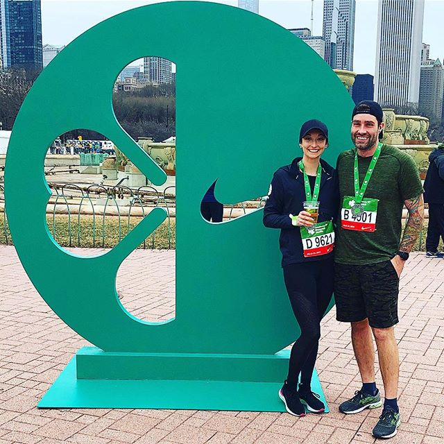 """Great """"warm"""" morning to get the first race of the season in as well as @sayremasters first city race ever! Always grateful seeing familiar faces out there and running the streets of Chicago. #shamrockshuffle #runchi #lululemonchi"""