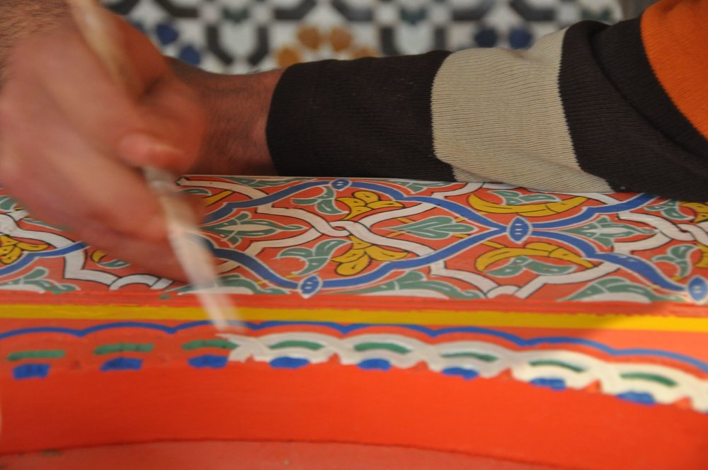 Travaux de restauration : le Zouaq (peinture polychrome traditionnelle)