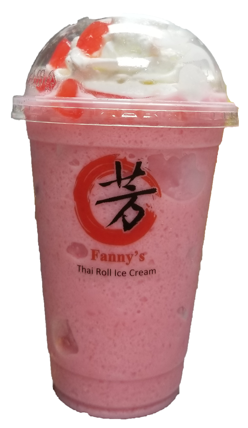 Strawberry and Vanilla milk shake flavor blended with ice with whipped cream and Heart shaped Jelly on top