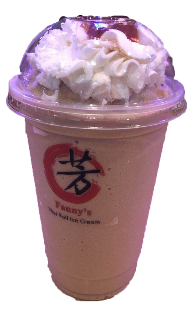 Cappuccino and Vanilla milk shake flavor blended with ice with whipped cream and Coffee Jelly on top