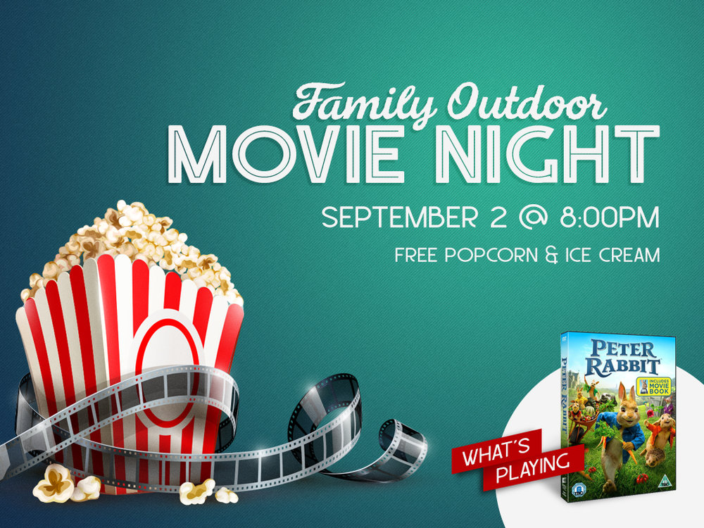 September 2nd is the night to grab your lawn chairs or blankets and come to the parking lot for Outdoor Movie Night! Invite your family, friends and neighbors to this fun night to close out the summer.