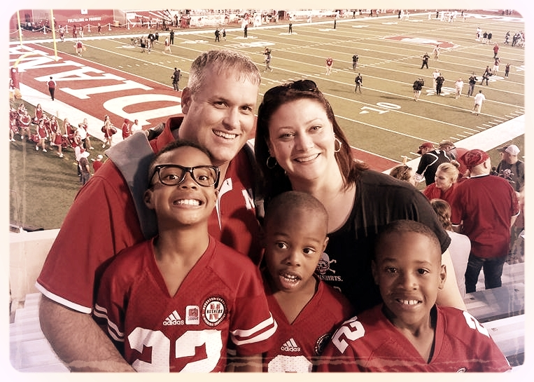 Me and my men cheering on the Huskers.  GO BIG RED!