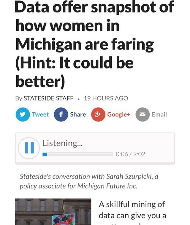 Partner Sarah Szurpicki collected some data on Michigan's women and how they're faring for our client Michigan Future. Yesterday she talked about her findings with Cynthia Canty of #Stateside on @michiganradio