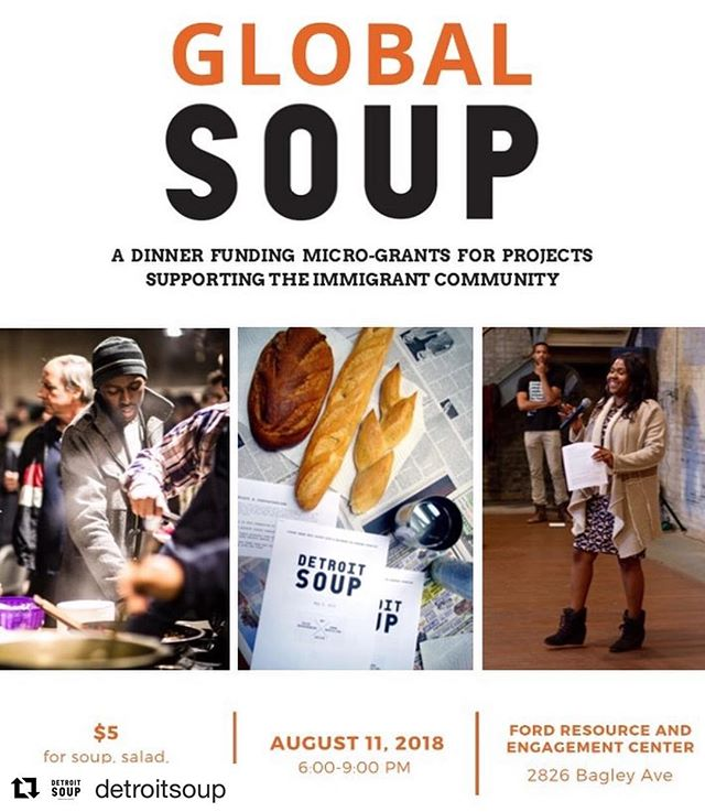 Have an idea that supports the immigrant community in Detroit, Highland Park, Hamtramck, or Dearborn? Submit today at detroitsoup.com/globalsoup 💡 ・・・ #Repost @detroitsoup with @get_repost