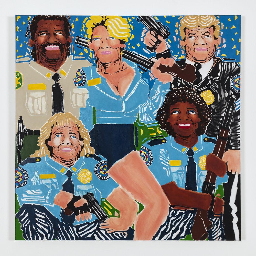 Koichi Sato American Police, 2017 Acrylic on canvas 50h x 50w in 127h x 127w cm KS006