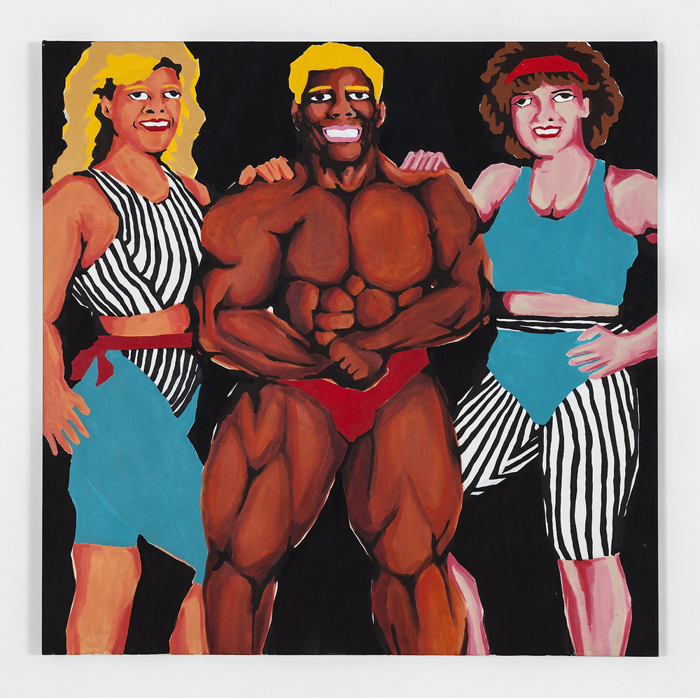 Koichi Sato Muscle Man With Ladies, 2016 Acrylic on canvas 50h x 50w in 127h x 127w cm KS015