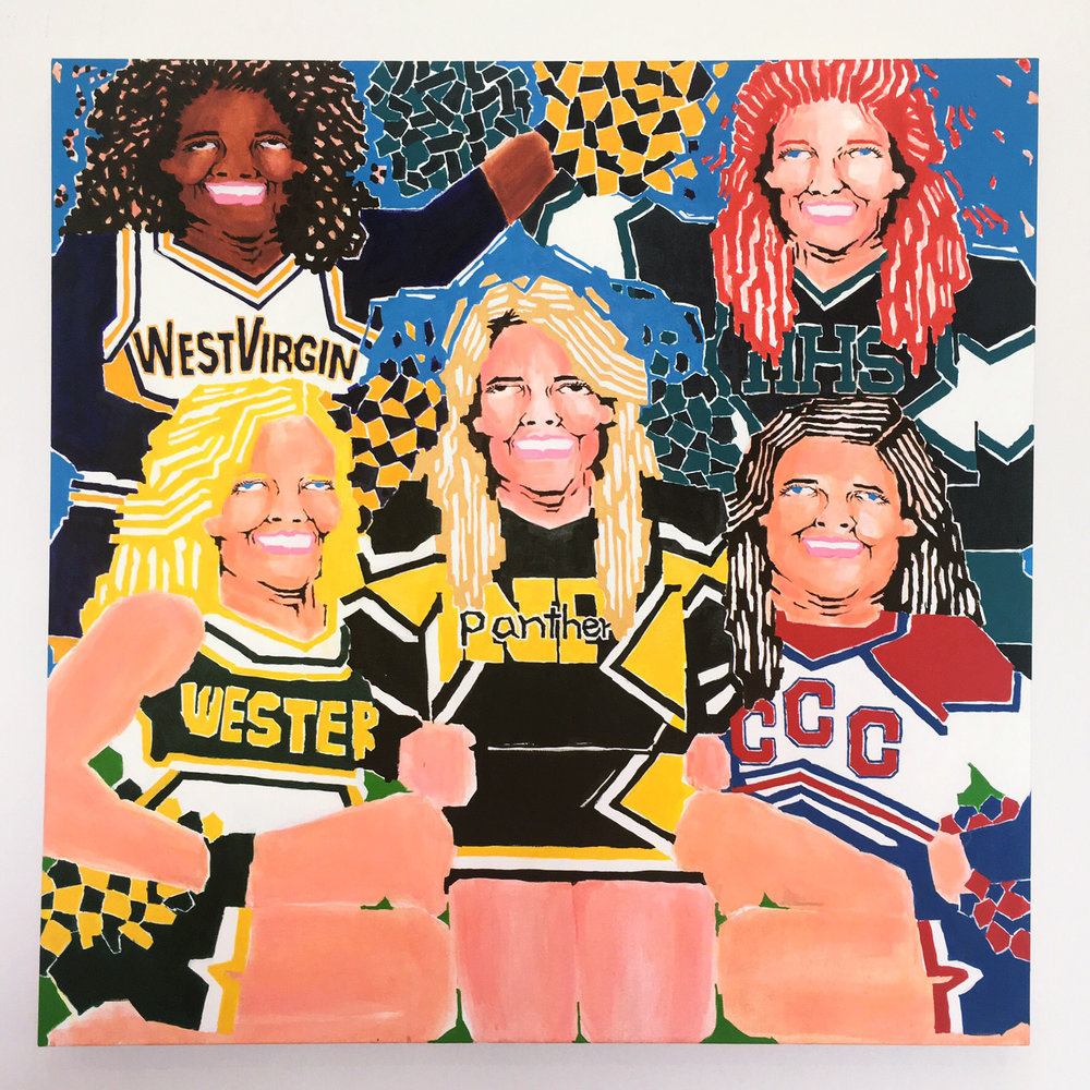 Koichi Sato Cheerleaders, 2017 Acrylic on canvas 50h x 50w in 127h x 127w cm KS024