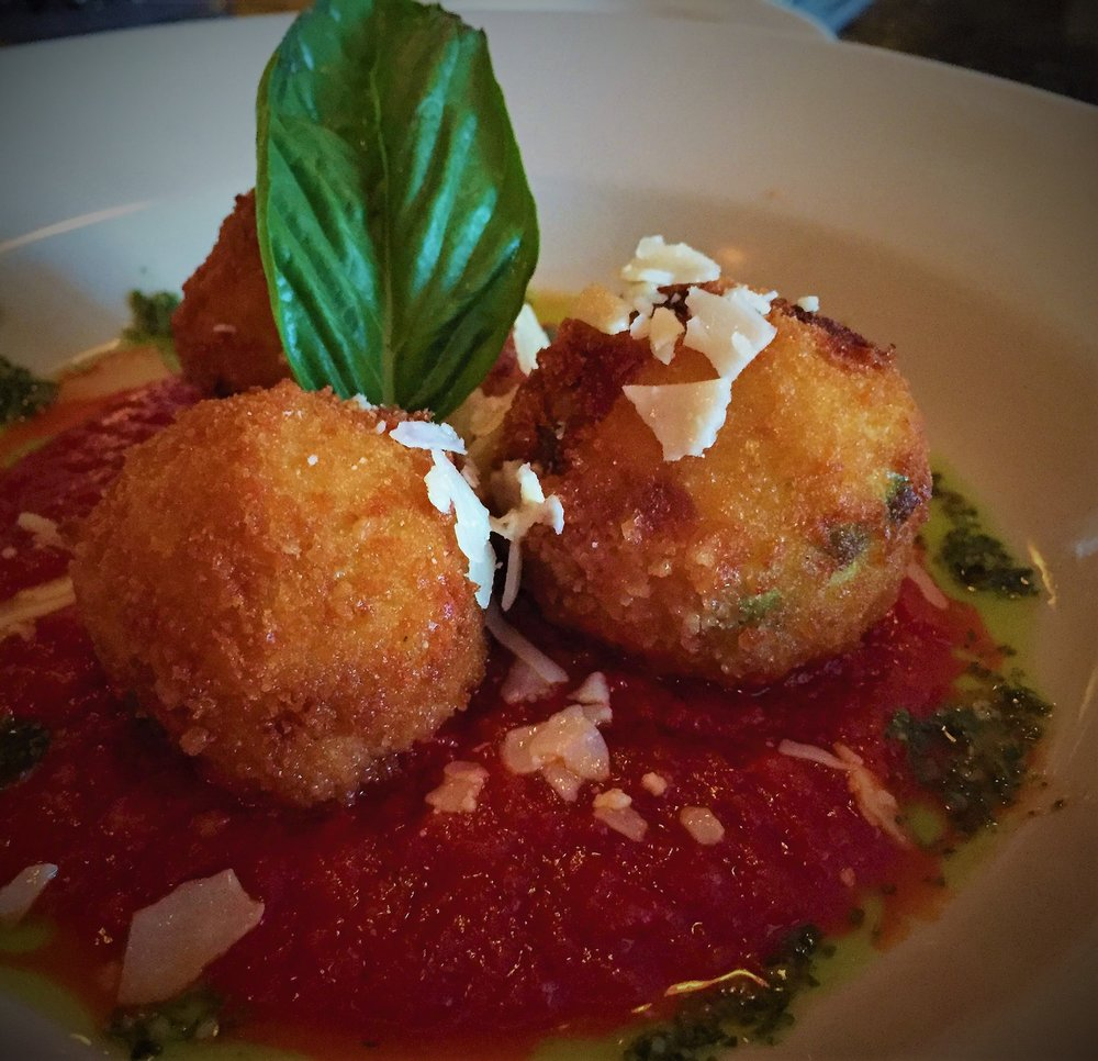 House Arancini, Pesto, and Marinara, at Gianni Figs in South Deerfield, MA