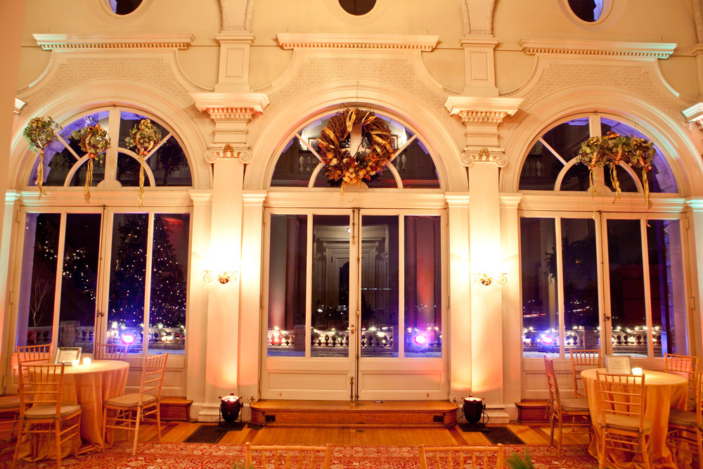 Cairnwood Estate's Great Hall, looking out to the terrace at night