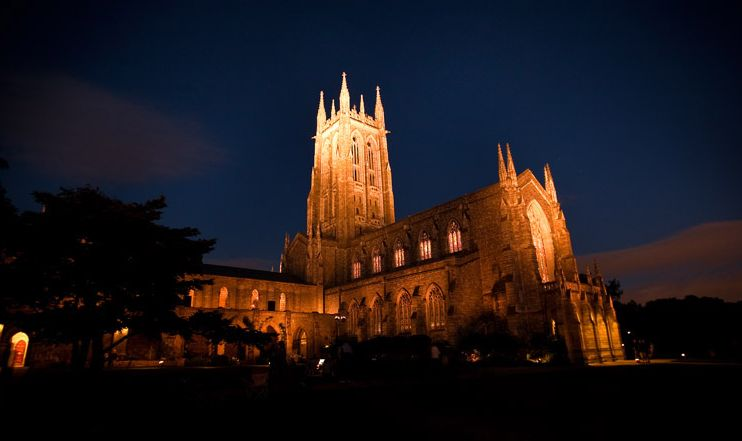 Bryn Athyn Cathedral at night