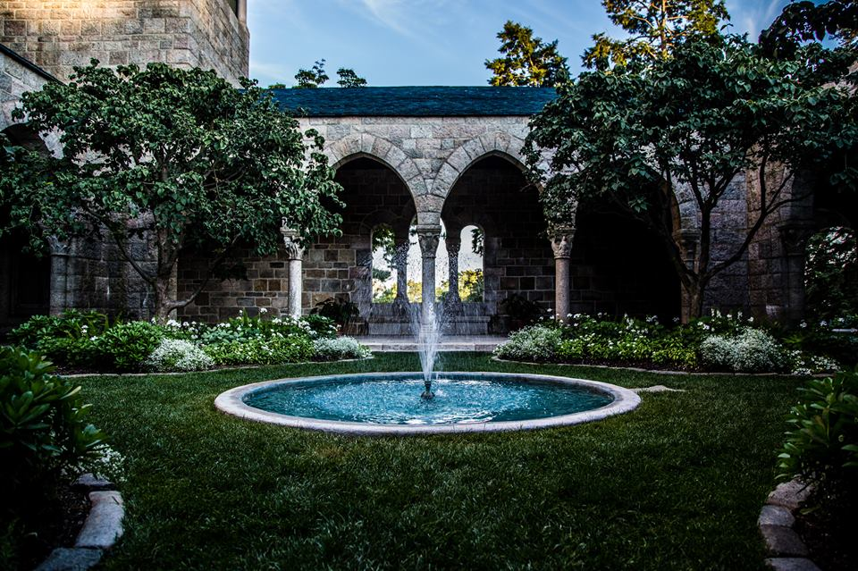 Glencairn Museum's cloister garden and fountain