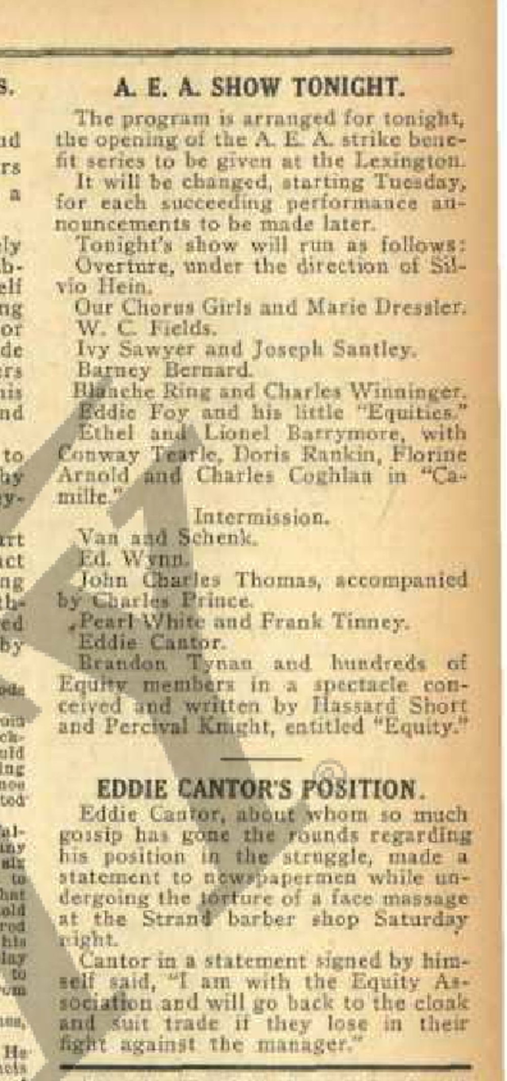 """Eddie Cantor's Position"" (on AEA strike)"