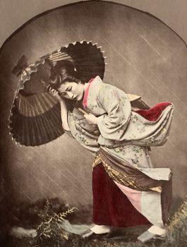 Kusakabe Kimbei  Woman in Rain with Umbrella  c 1880