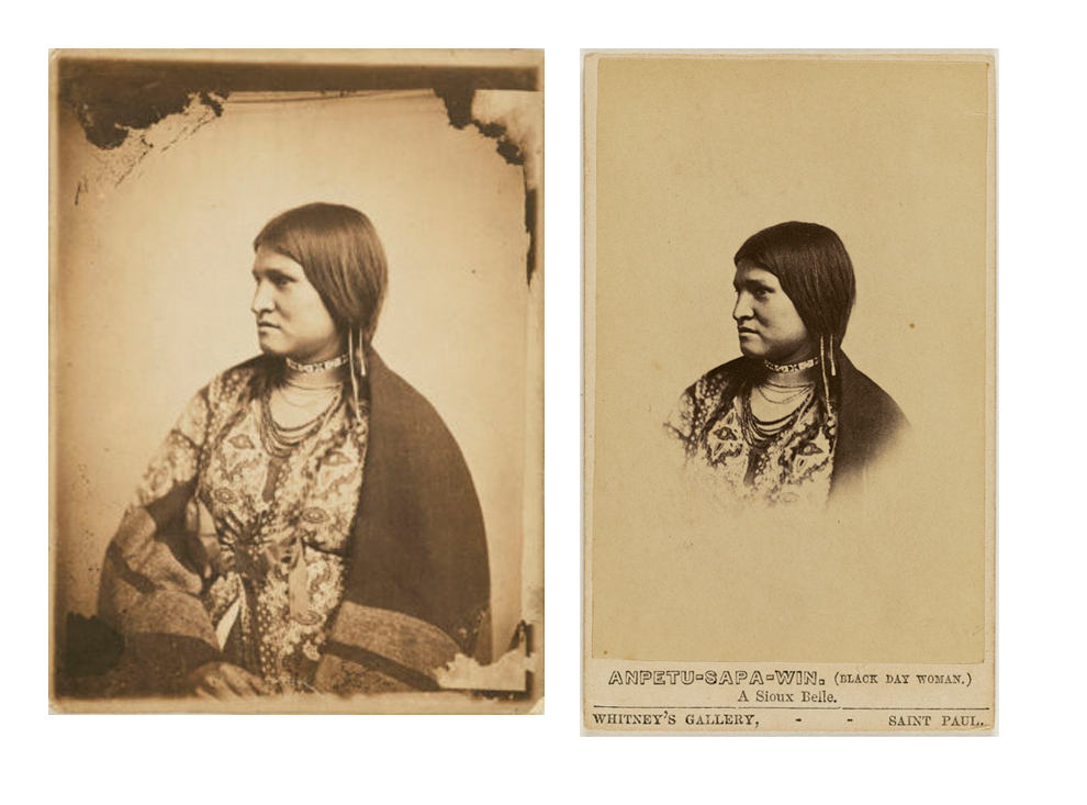 "J.E. Whitney,  Portrait of a Dakota Sitter "" (about 1862-1864),  Salted paper print. The J. Paul Getty Museum,   j.e. whitney,  Anpetu-Sapa-Win (Black Day Woman), a sioux belle  c. 1865. j. paul getty museum. Purchased in part with funds provided by Catherine Glynn Benkaim and Barbara Timmer"