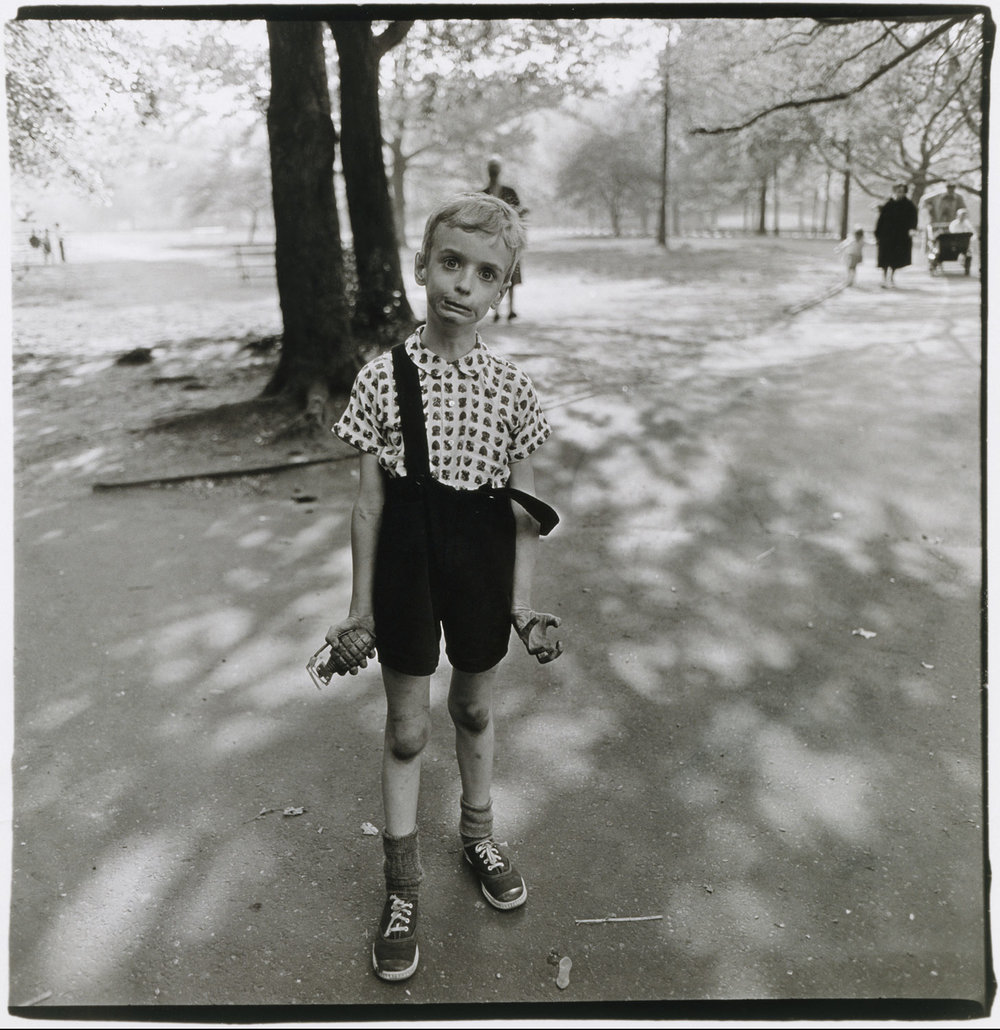Diane Arbus,  Child with toy hand grenade in Central Park, NYC,  1962