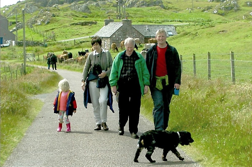 Walking around Iona with my mum, father-in-law, Alan, Eliza and our first cocker spaniel, Sizzles.