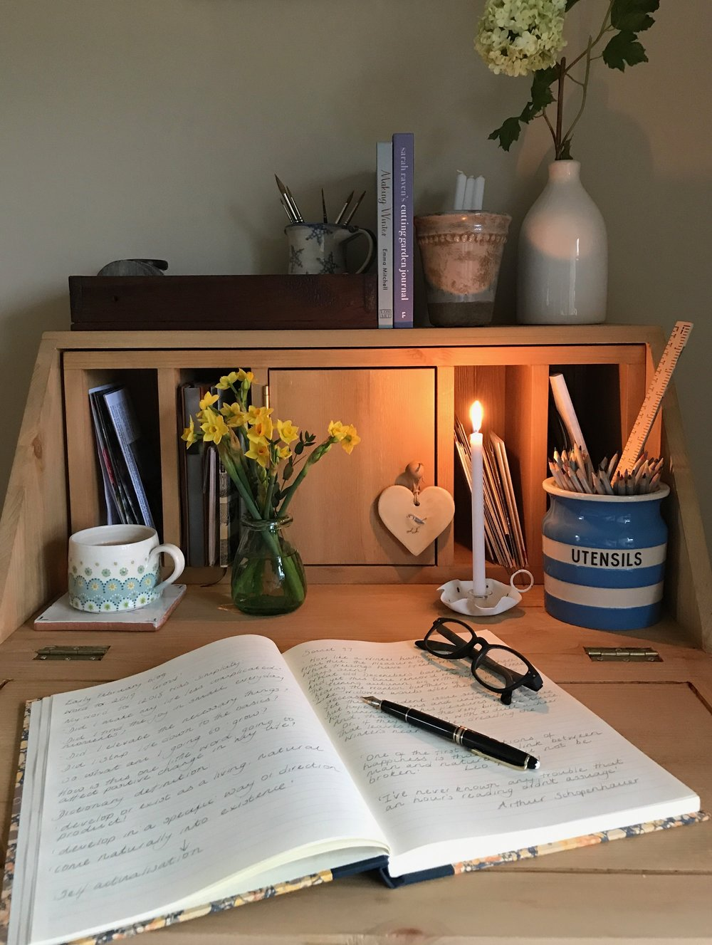 I bought a bureau with my wages and set up a little writing space in the corner of the sitting room. This year i'm going to keep a diary, recording my thoughts and feelings.