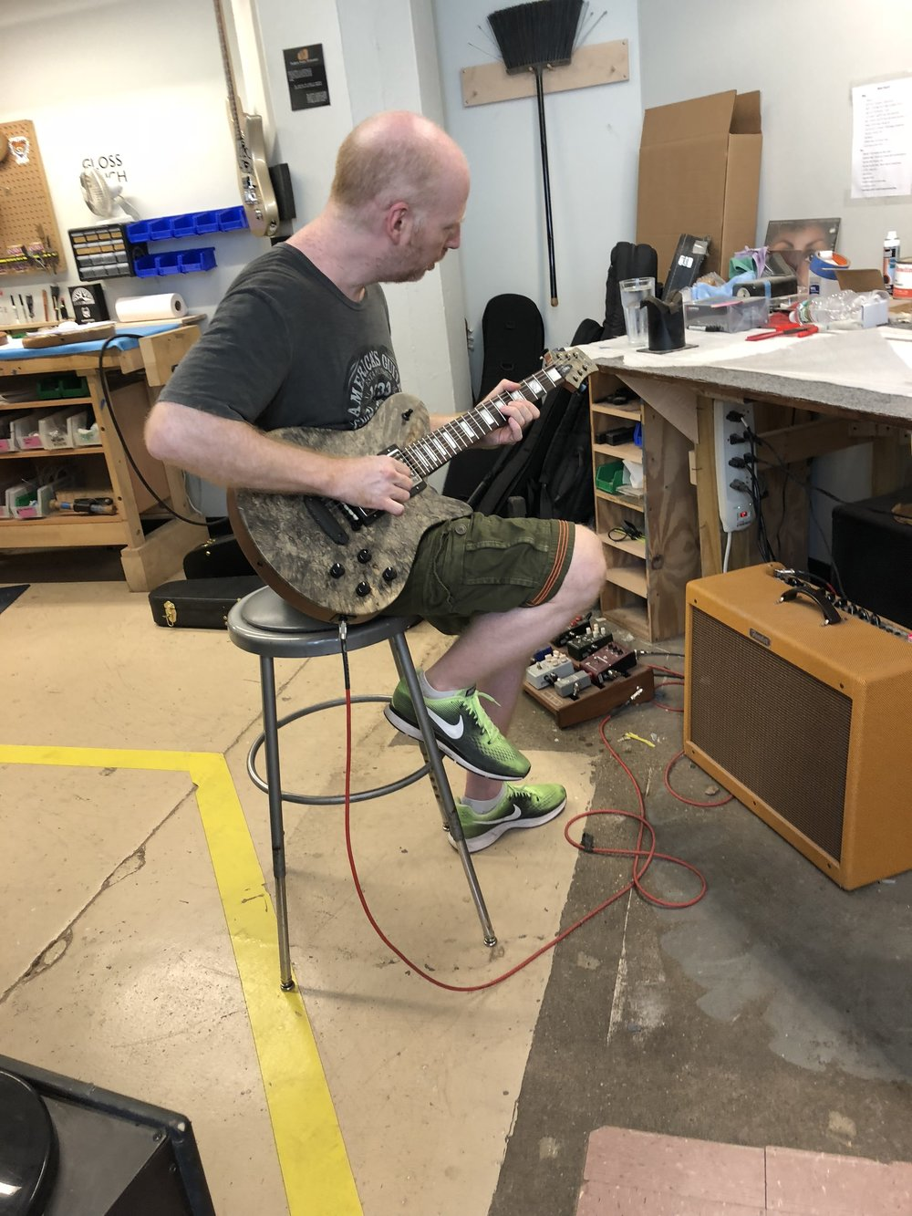 Oz taking our Custom Imperial Guitar for a spin…