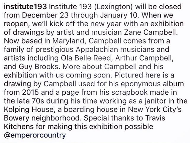 Excited to announce that @institute193 will be exhibiting a collection of Zane's drawings and paintings starting in January. Dates and times to come including a rare opportunity to see Zane perform in Kentucky.